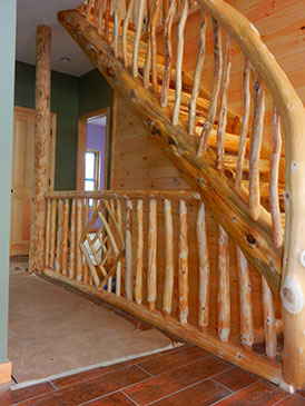 ... Cedar Railing Log Stairs ...