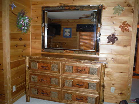 Custom Built Burl & Bark Dresser-Mirror