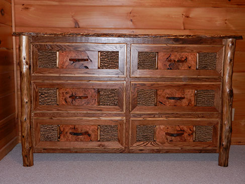 Custom Built Burl & Bark Dresser