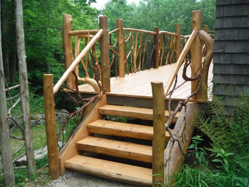 Exterior Log Stairs Rails