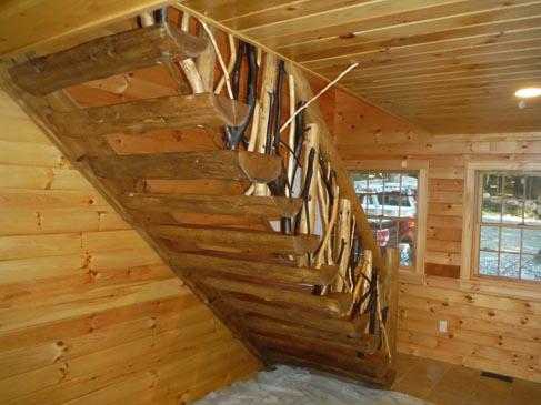 ... Custom Built Cedar Log Stairs ...