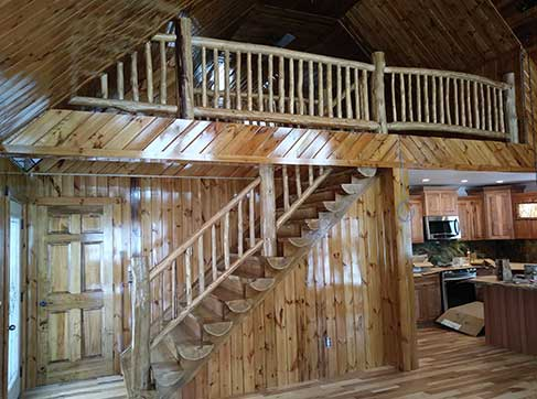 Log Stairs and Railing
