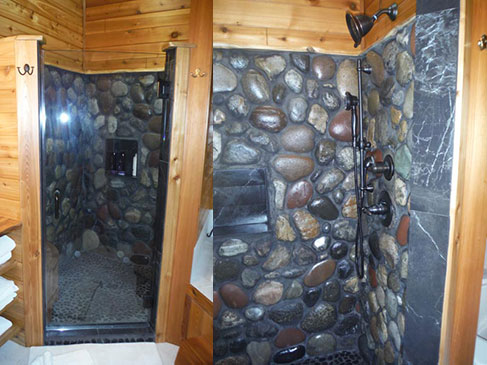 Natural Stone Shower w/ Glass Door
