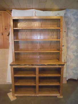 Oak Bookcase with Butternut Top