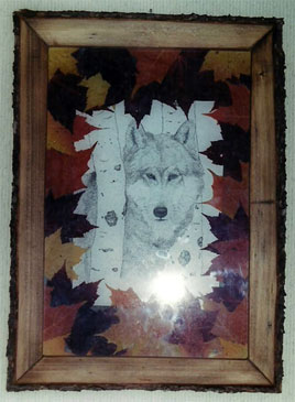 Rustic Frame and Wolf Drawing