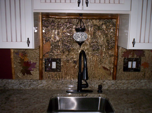 Backsplash & Outlets with Birch Bark & Leaves