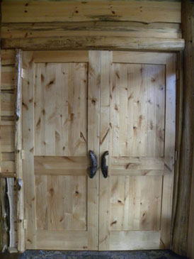 Knotty Alder Door with Burl Handles