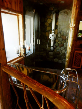 River Rock Shower / Copper/Nickle Claw-foot Tub