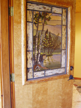 Log Homes 3 - Custom Stained Glass Door