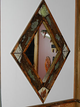 Natural Bark & Leaf Mirror Frame