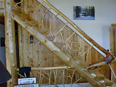 ... Log Stairs And Railing ...