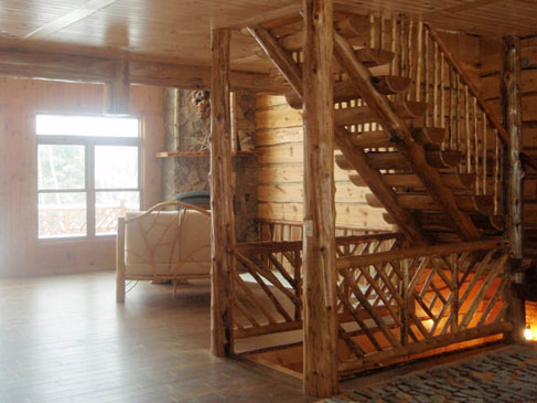 Log Stairs & Spindle Railing