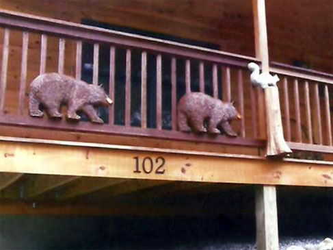 Rustic Railing with Carved Bears
